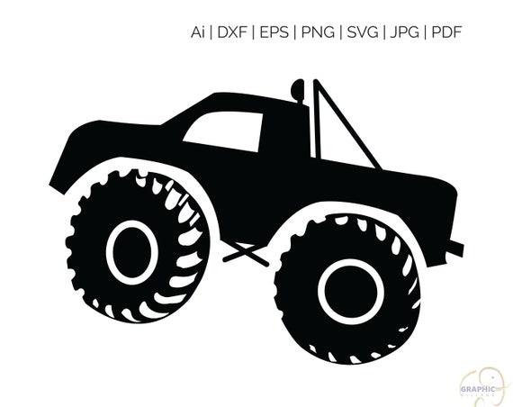Monster Truck Svg Eps Vector Clipart Digital Silhouette And Etsy