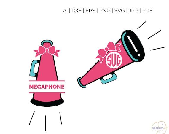 Cheer Megaphone Monogram Svg Digital Silhouette And Cricut Etsy