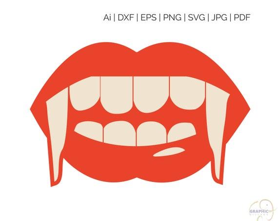 Halloween Vampire Lips Svg Eps Vector Clipart Digital Etsy