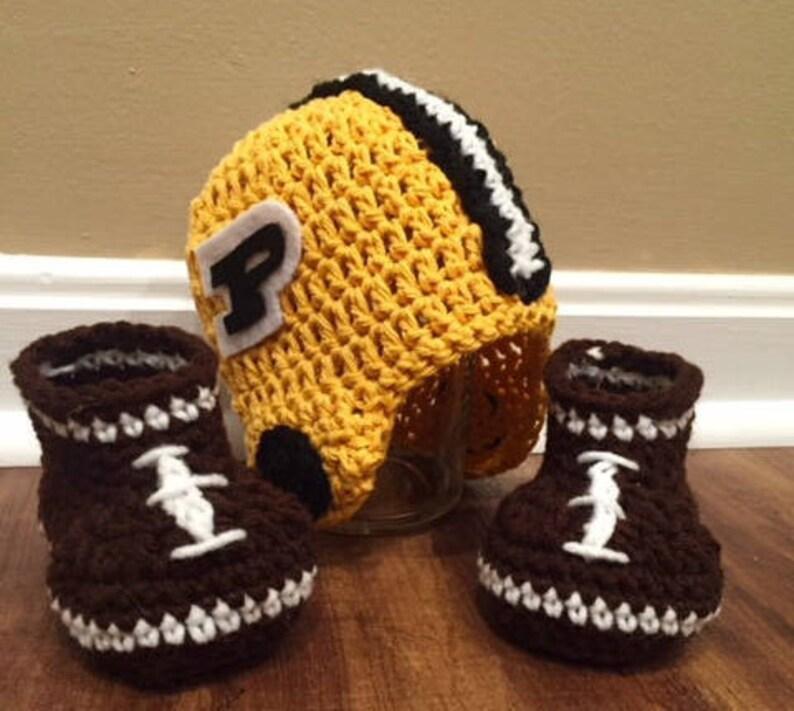 Purdue Boilermakers Baby Football Helmet Hat and Booties image 0
