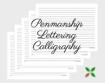 Black Landscape 16-20mm Printable Penmanship Paper