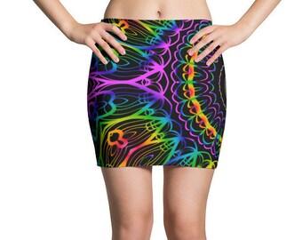 Psychedelic Mini Skirt, Rave, Rave Outfit, Burning Man, Festival, Festival Clothing, Hippie, Boho, Hippie Clothing, Rainbow, Celestial, Boho