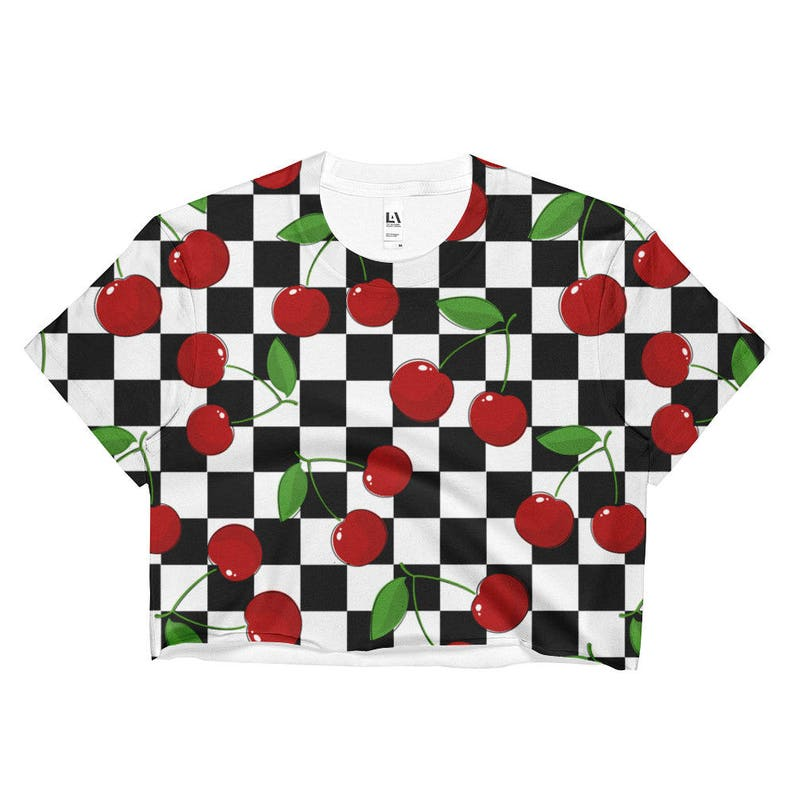 d0616d33976dd Cherry Checker Crop Top Aesthetic Clothing 90s Clothing