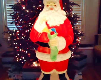 40 tall blow mold santa claus holding green stocking of toys vintage 1960s yard decoration - Outdoor Deer Christmas Decorations