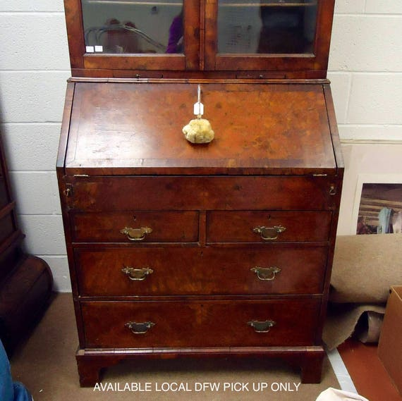 Antique Colonial Secretary Desk Burled Wood Hutch With Glass Etsy