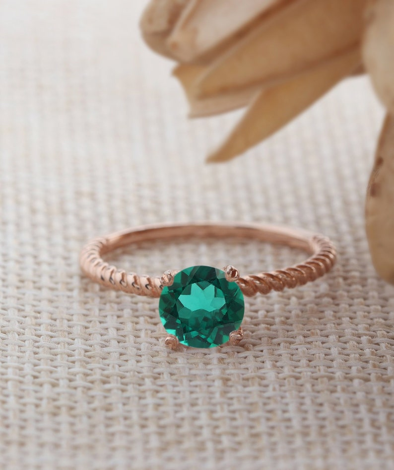 Solitaire Ring 6.5mm Round Cut Lab Created Emerald Ring Engagement Wedding Promise Ring 14K Rose Gold Birthstone Ring Twist Band Ring