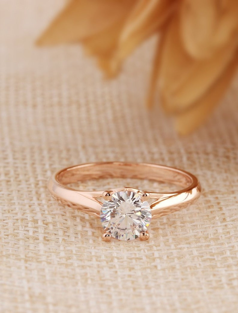 b87a1707125cab Solitaire Ring/ 6.5mm Round Cut Moissanite/ Engagement Wedding   Etsy