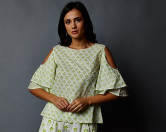 51e7a210d2e4f2 HandBlock Printed Cold Shoulder Top   Short