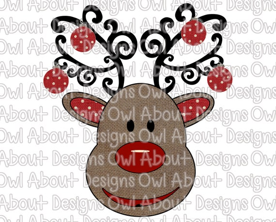 Ornament Kids Christmas Sublimation. Burlap Deer Santa Reindeer Polka Dot Burlap Christmas Reindeer with Ornaments Digital Download