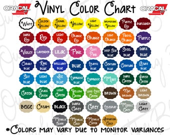 Oracal 651 Digital Color Chart. Branding. Color Chart. Color Swatch. Gloss Vinyl Color Chart. Instant Download. Vinyl Color Sample Chart.