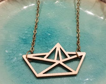 Wooden paper boat Necklace - Laser Cut