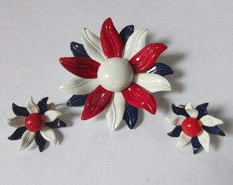Red White and Blue Enamel Flower Power 1960s  Brooch and Clip Earring Set