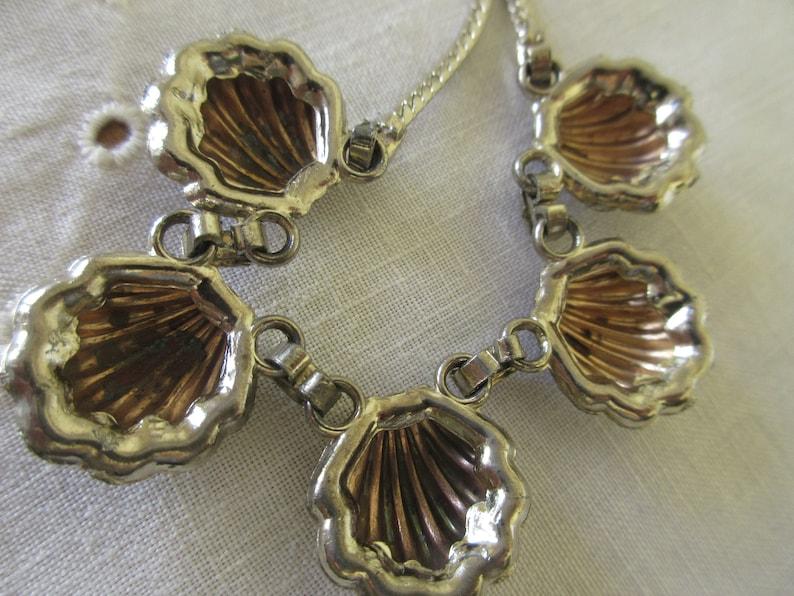 Vintage Scallop Shaped Bronze Tone Dangling Rhinestone Necklace Scallop and Rhinestone Bib Mid Century Necklace
