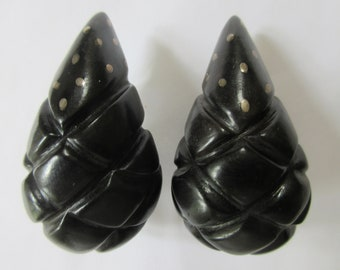 PATRICIA VON MUSULIN 1980s Carved Ebony Sterling Silver Runway Earrings