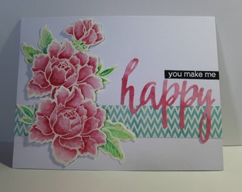 """Handmade Stamped Altenew Flower You Make Me Happy Greeting Card - 5"""" x 6 1/2"""""""