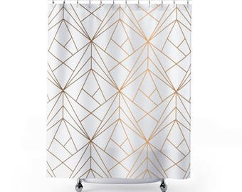 Shower Curtain Gold Geometric Design