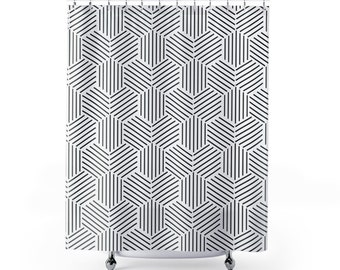 Shower Curtain Black And White Geometric