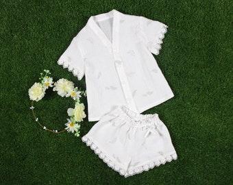Kids Pajamas-White Flower Girl Pajamas-Children Pajamas-Flower Girl Robe-Flower girl Pjs-Kids Pjs-Little Girls Nightgown-flower girl gift
