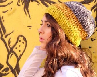 Yellow and Gray Slouchie Beanie