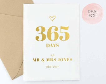 Wedding Anniversary Card   First Anniversary Card   To My Wife   To My Husband   365 Days As Mr & Mrs   Real Gold Foil   FREE Delivery