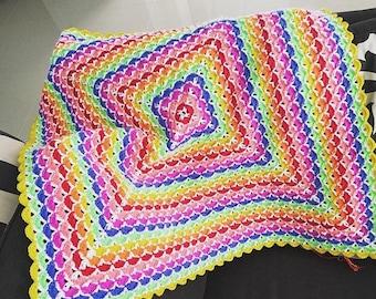 Crochet baby blanket rainbow beautifu shells blanket