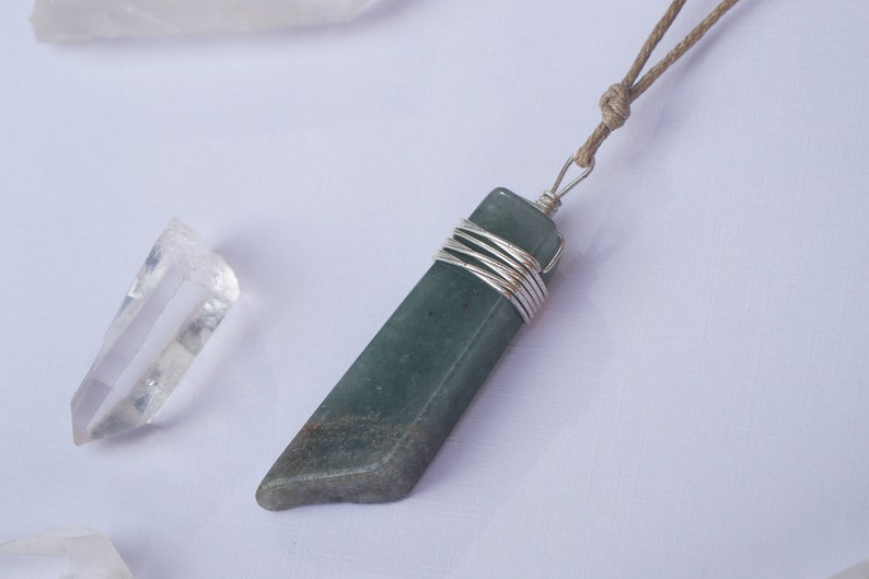 GREEN AVENTURINE crystal stone gemstone necklace pendant wrapped with sterling silver wire on brown beige cotton string