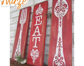 SPOON FORK EAT Rustic Kitchen Wall Decor | Large Fork And Spoon Decor |  Wooden Spoon Fork Signs | Spoon And Fork Art | Eat Sign For Kitchen