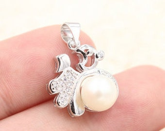 White pearl pendant, freshwater pearl s925 sterling silver pendant,blessing pearl necklace,L-BM-0541
