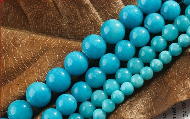80dafac9c 6-12mm Blue color cloud jadenatural gemstone beads round | Etsy