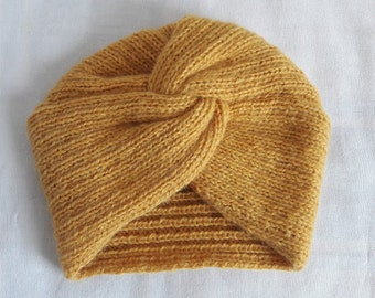 Hand knitted turban in wool for women Yellow Mustard, Mohair aspect, New Cap, fashion accessory, duck blue, black