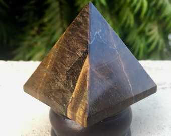 "Natural Large 2.2"" Inches Beautiful Golden Tiger Eye Crystal Stone Reiki Aura Healing Energy Meditation Egyptian Pyramid"
