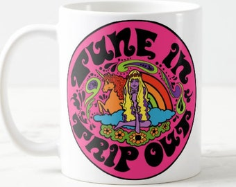 8c23fa7c5f0 Tune In Trip Out... Large Mug... Statement Mug... Psychedelic... Stoner...  Weed... LSD... Gift...Hippie... Vintage Style... Birthday Gift