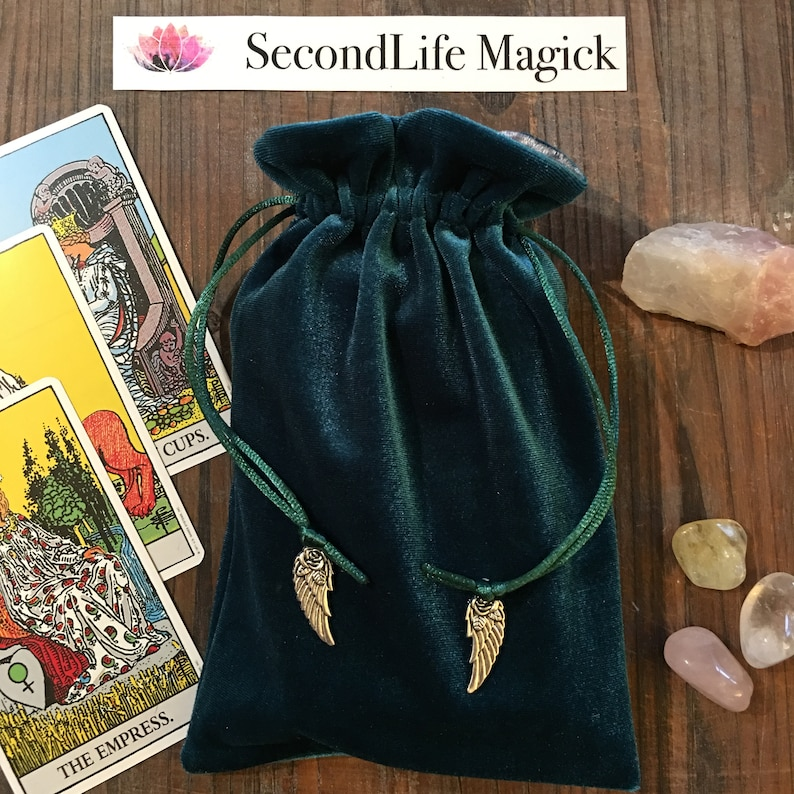 YOUR CHOICE of CHARMS Green /'Mermaid/' Premium Tarot Bag Oracle Pouch Magick Wicca Angel. Pagan Tarot Cards