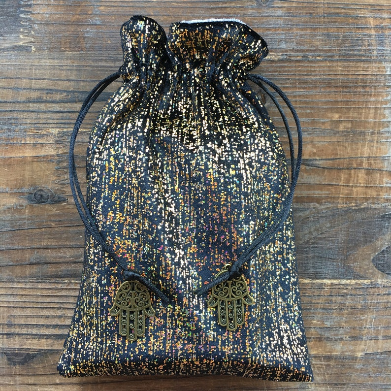Wicca YOUR CHOICE of CHARMS Magick. Black /'Fifth Element/' Velvet Tarot Bag Oracle Pouch Pagan