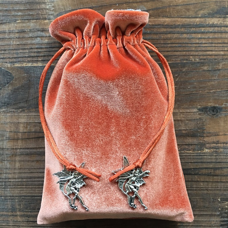Orange /'Tangerine/' Premium Tarot Bag Oracle Pouch Wicca YOUR CHOICE of CHARMS Magick Tarot Cards Angel. Pagan