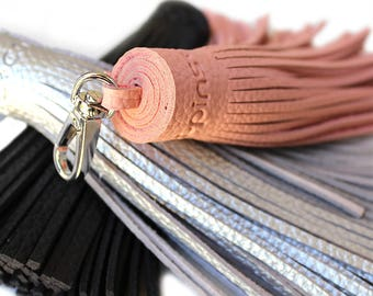 Large tassel bag charm pink silver black