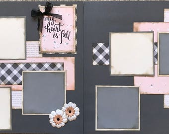 My Heart is Full pre made two page 12x12 scrapbook completed layout