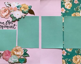 Love This Moment pre made two page 12x12 scrapbook layout