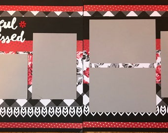 Thankful and Blessed pre made two page scrapbook layout. SALE