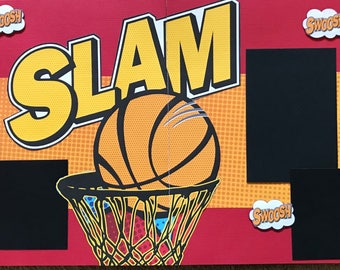 SLAM basketball pre made two page 12x12 scrapbook layout