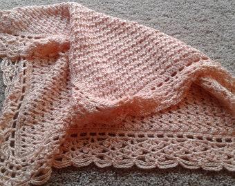 Lacy Peach Car Seat Blanket