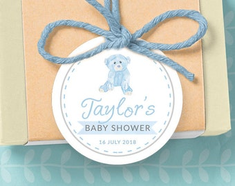 Custom Baby Shower Favor Tag Printable Digital File, Blue bear Baby Shower soap gift baby boy party, baby shower gift sticker label teddy