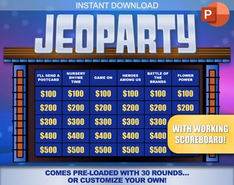 picture relating to Jeopardy Game Board Printable titled Jeopardy Etsy
