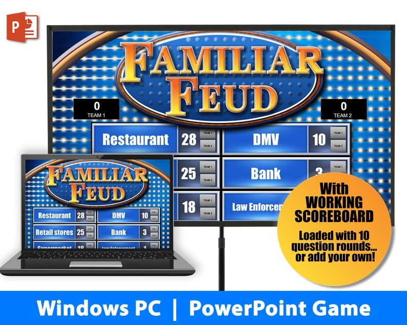 Family Feud Instant Download Party Game | Windows PC | PowerPoint Template  | Game Night | Make Your Own Game | with Scoreboard!