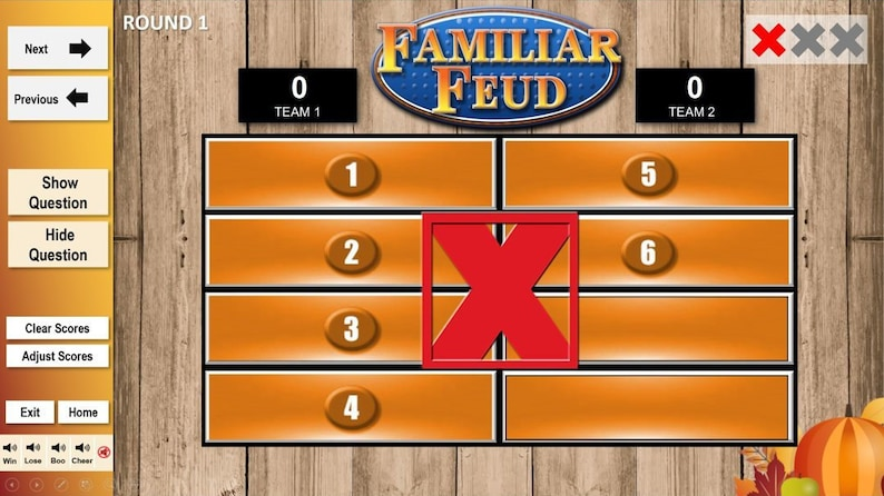 Family Feud Thanksgiving Edition w/ Working Scoreboard | Interactive |  Digital Game | PowerPoint Template | Party Game | Instant Download |
