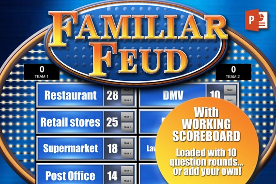 Family Feud Game Template With Working Scoreboard Etsy