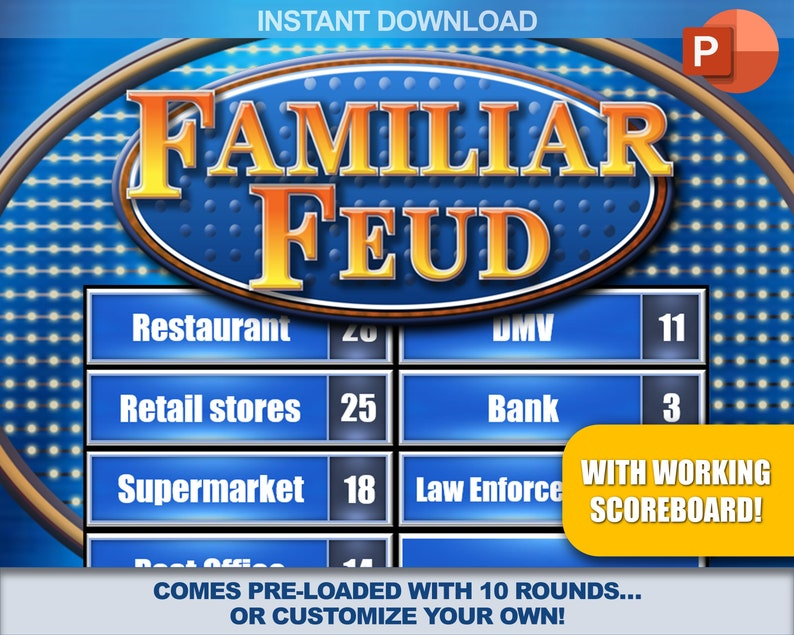 Family Feud Instant Download Party Game | PC, Mac, iPhone, iPad |  PowerPoint Template | Game Night | Make Your Own Game | w/ Scoreboard