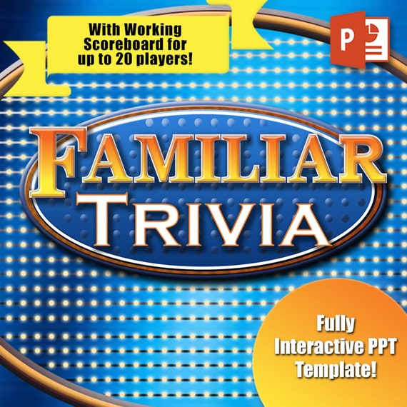 family trivia game template with working scoreboard 20 players etsy