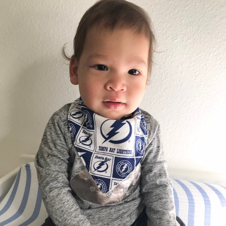 a5c7a2e1 Tampa Bay Lightning Baby and Toddler Bandana Bib, Gender Neutral, NHL  Hockey theme, Little Fan Gear, Baby Shower Gift