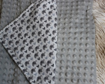 Grey Elephant Hearts Cuddle Me baby blanket